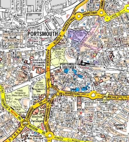 Portsmouth  A Z Wall Map